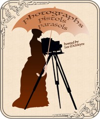 Logo of Photographs, Pistols, and Parasols: an woman in a 19th century gown, with a box camera on a tripod-stand with a a parasol overhead; the handle of the parasol is a pistol.